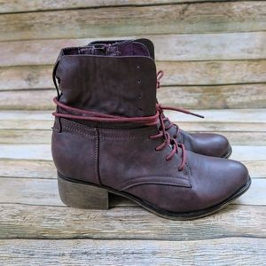 Burgundy lace up ankle boot
